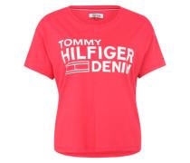 Shirt mit Label-Print rot