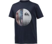 Half Mixed Printshirt Herren beige / navy