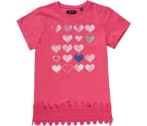 T-Shirt für Mädchen blau / silbergrau / pink / weiß