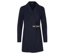 Wollmantel mit Leder-Look-Schließe nachtblau