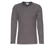 Longsleeve 'reverse striped sweat' dunkelblau / weiß