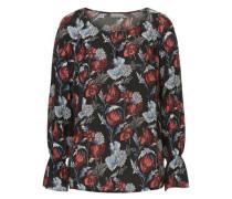 Bluse mit Allover Blumen Print mischfarben