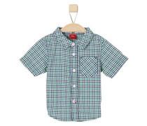 Kariertes Baumwollhemd dunkelblau / grün / weiß