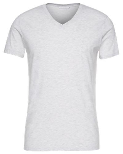 T-Shirt mit V-Ausschnitt 'Marian' weiß