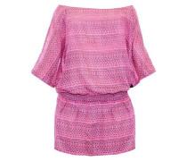Tunika mit Smokeinsatz in der Hüfte pink