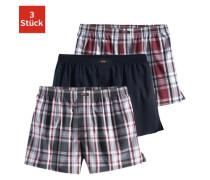 Boxershorts (3 Stück) Webboxer in bequemer Passform schöne Karos und einmal unifarben grau / rot / schwarz / weiß