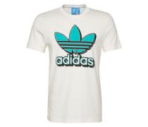 T-Shirt 'trefoil 2' türkis / weiß