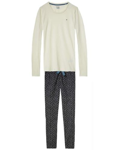 Schlafanzug beige / dunkelblau