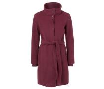 Wollflausch-Mantel mit Bündchen rotviolett