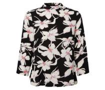 Blumen Bluse mit 3/4 Ärmeln hellpink / schwarz / weiß
