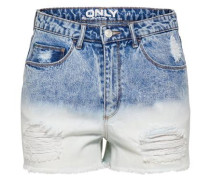 Jeans-Shorts mit Dip-Dye blue denim / weiß