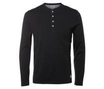 T-Shirt mit langen Ärmeln Split-Neck- schwarz