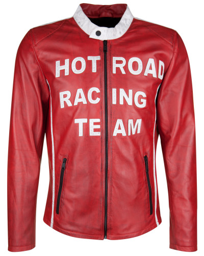 Lederjacke 'hot Road' rot / weiß