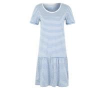 Kleid mit umgenähten Ärmeln hellblau / weiß
