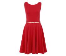 Ausgestelltes Kleid mit Gürtel pink