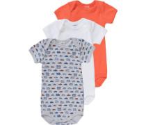 Bodys 3er-Pack für Jungen blau / graumeliert / orange / weiß