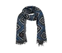 Schal aus reiner Wolle mit Ethnomuster blau / weiß