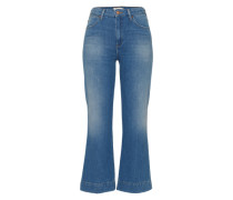 'Cropped Flare' Jeans blue denim