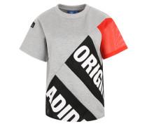Shirt mit Netzeinsätzen graumeliert / rot / schwarz