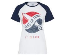 T-Shirt 'vers la lune' blau / weiß