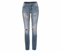 Destroyed-Jeans blue denim / rosa