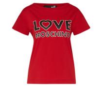 T-Shirt mit Label-Print rot