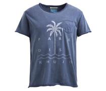 Shirt 'tree' blau / offwhite
