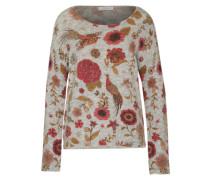 Pullover 'Folk Flower' honig / graumeliert / rostrot