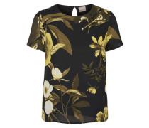 Blumen-Bluse mit 2/4 Ärmeln schwarz