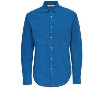 Kariertes Langarmhemd blau