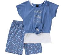 Schlafanzug für Mädchen blau / hellblau
