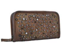 Portafoglio Geldbörse Leder 20.5 cm braun / silber