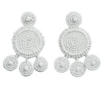Große Perlen Ohrringe hellgrau