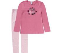 Schlafanzug für Mädchen rosa / dunkelpink / pinkmeliert
