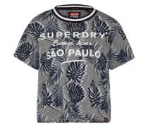 T-Shirt mit Print 'amazon Boxy' grau / weiß