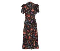 Midi-Kleid mischfarben / rot / schwarz