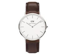 Uhr 'Classic Collection Bristol' rostbraun / silber