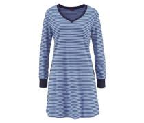 Süßes Nachthemd in Ringeloptik mit langen Ärmeln blau