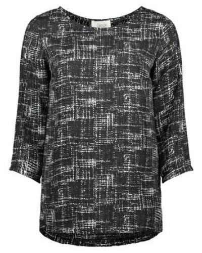 Bluse im trendigen Allover-Muster schwarz / weiß