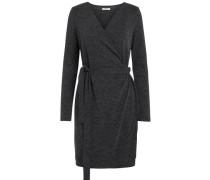 Langärmeliges Wickel Kleid dunkelgrau
