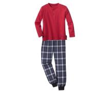 Langer Pyjama hellblau / dunkelblau / karminrot