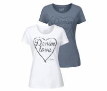 T-Shirt (Packung 2 tlg. 2er-Pack) grau / weiß