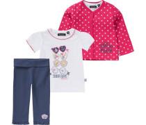Baby Set Sweatjacke + T-Shirt + Hose für Mädchen marine / pink / weiß