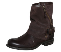 Biker Boot mit Materialmix braun