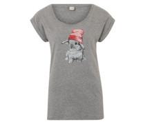 Shirt 'It Hasi' grau / rostrot