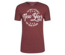 T-Shirt 'crewneck tee with frontartwork' burgunder / weiß
