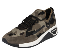 Sneaker in Camouflage-Optik oliv