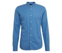 Hemd 'Collarless shirt in light weight brushed cotton melange qual' blau