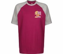 T-Shirt ' Remix Raglan ' grau / blutrot