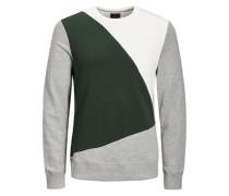 Sweatshirt Rundhalsausschnitt grau / grün / weiß